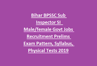Bihar BPSSC Sub Inspector SI  Male female Govt Jobs Recruitment Prelims Exam Pattern, Syllabus, Physical Tests 2019