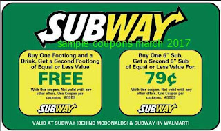 Subway coupons for march 2017