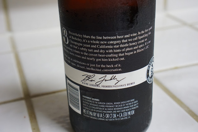 Calicraft Buzzerkeley beer bottle - back of label