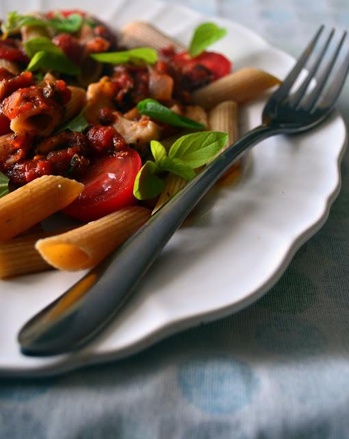 penne+z+sosem1 Penne z sosem pomidorowym i kurczakiem