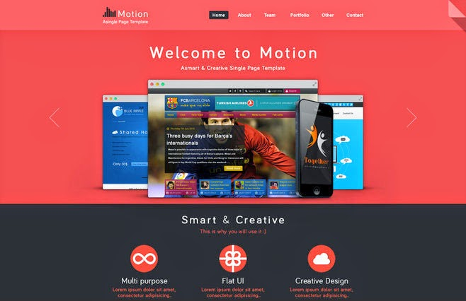 Motion - Single Page PSD Web Template
