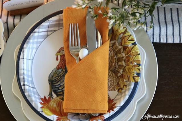 Martha Stewart, white, plates, turkey plates, orange, napkin, athomewithjemma