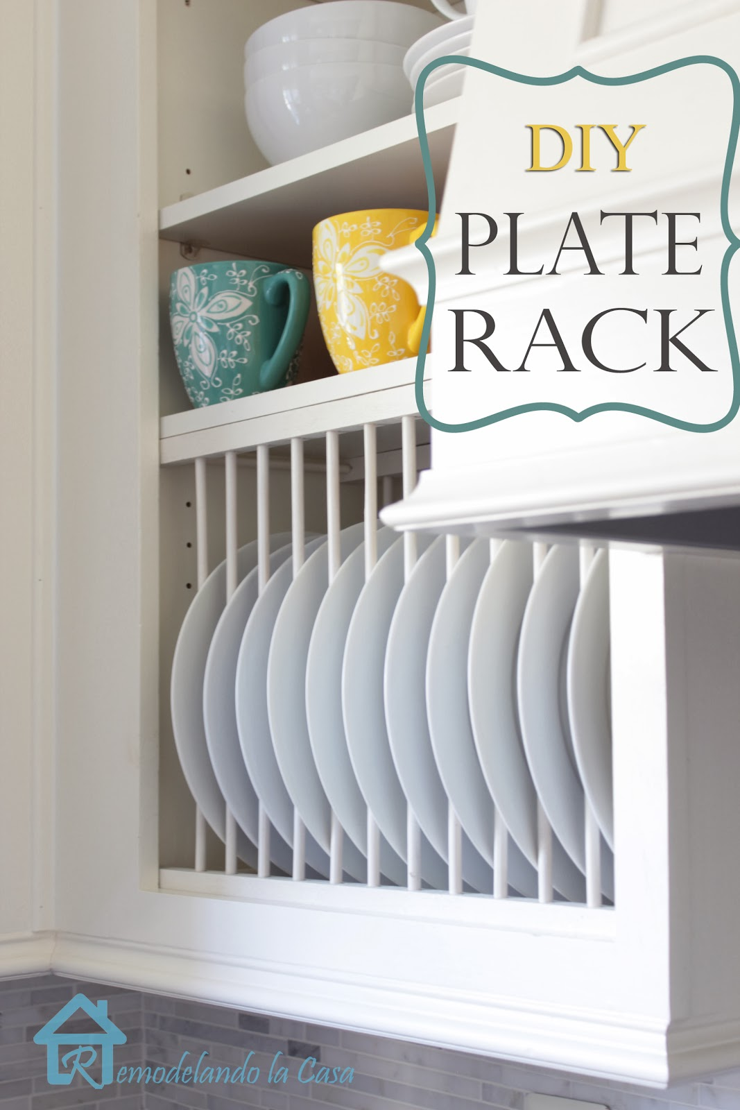 how to make a plate rack inside a cabinet