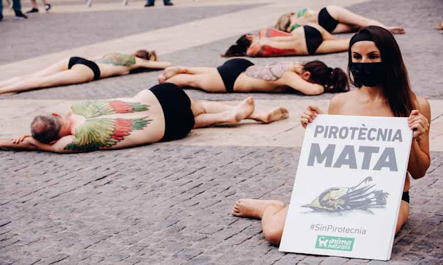 Spain: Animal rights activists stage half-naked die-in in protest of fireworks