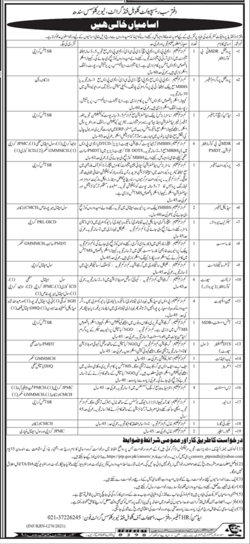 Provincial TB Control Program, Government of the Sindh Jobs 2021For MDR TB Coordinator, Provincial Program Officer, Admin Officer & more