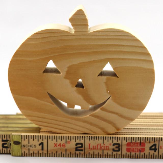 Handmade Wood Halloween Jack-o-Lantern Cutout/Shape for Crafts or Toys