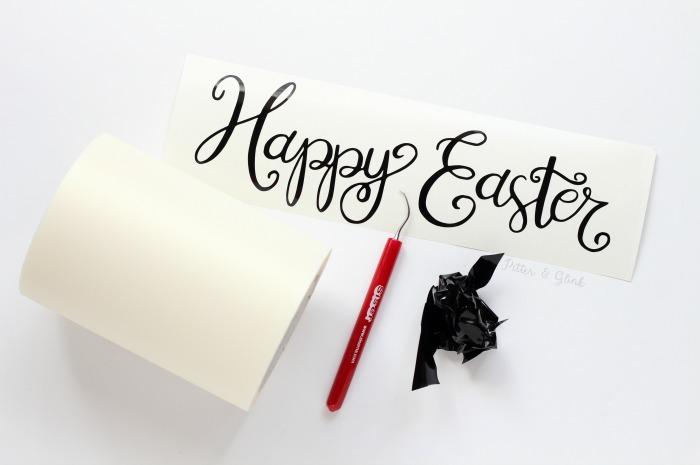 Hand-Lettered Happy Easter Vinyl Phrase | pitterandglink.com