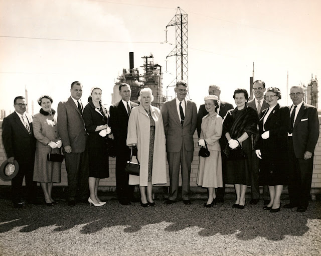 All the winners of the Esso Bayway Refinery 1959 safety contest, along with their husbands and the plant manager, G. R. Murrell. 15 Apr 1959. Esso Bayway photo. E. Ackemann, 2017.