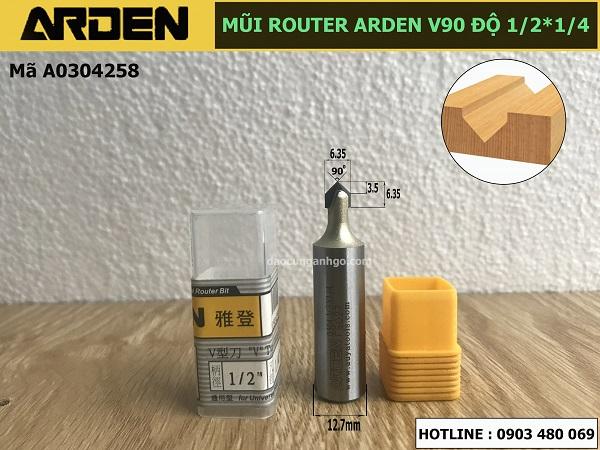 Mũi phay gỗ chử V dòng A0304 ARDEN 1/2x1/4