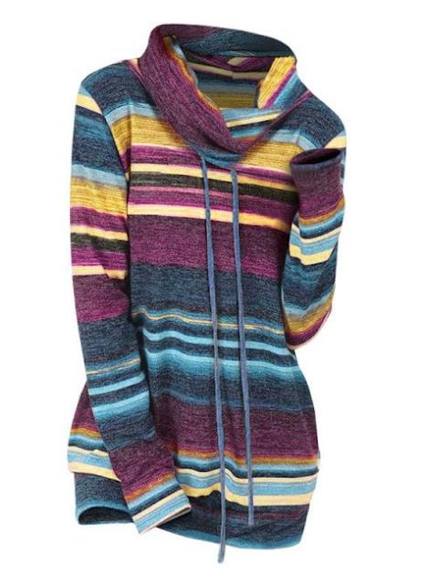 jersey de punto multicolor con el cuello alto
