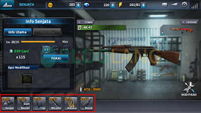 material parts senjata point blank mobile