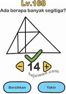 Brain out banyak segitiga ada berapa? jawaban level 168