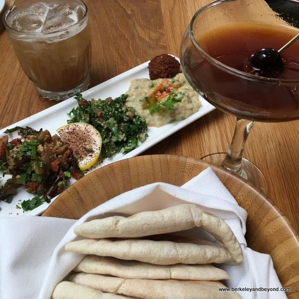 mezze platter and cocktails at Zaytoon Mediterranean Restaurant & Bar in Albany, California
