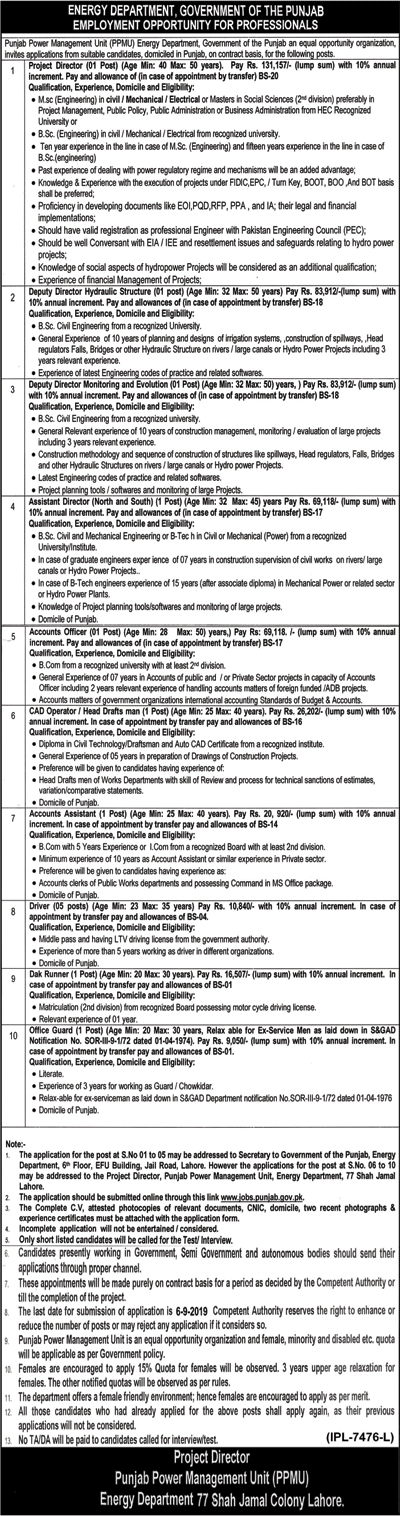 Jobs in Energy Department Govt Of The Punjab Jobs 2019 August