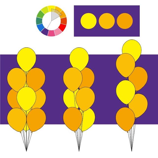 Комбинация цвета для букета из гелиевых шаров