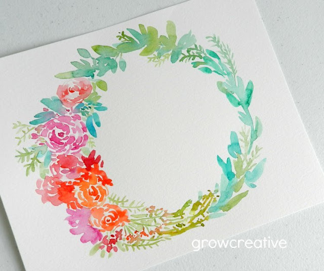 Original Watercolor Floral Wreath  by Elise Engh: growcreative
