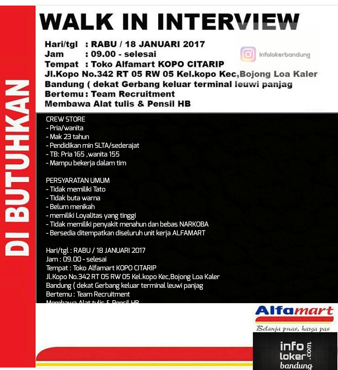 Lowongan Kerja Alfamart Kopo Citarip Bandung Januari 2017
