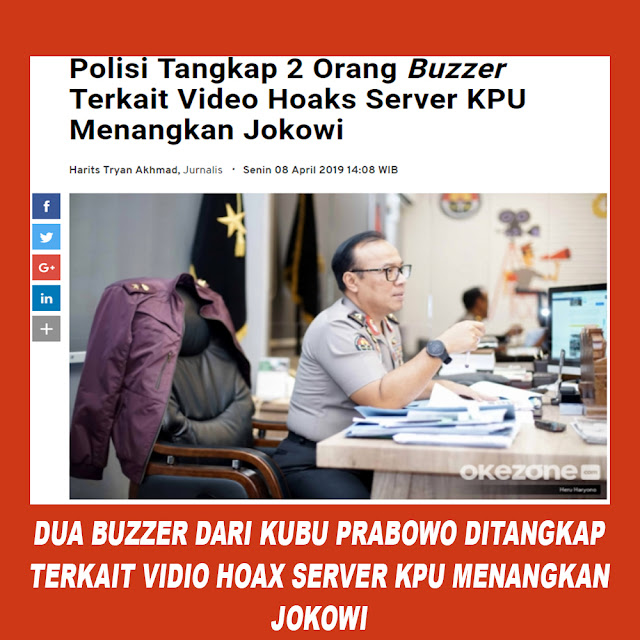 Polisi Tangkap 2 Orang Buzzer Terkait Video Hoaks Server KPU Menangkan Jokowi