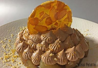 recette de poires chocolat et nougatine, nougatine amandes, comment faire de la nougatine, nougatine maison, recette de nougatine, ganache montée au chocolat et tonka, poires pochées à la réglisse, dessert à l'assiette, dessert gourmand, patissi-patatta