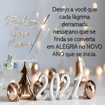Desejo a você que cada lágrima derramada nesse ano que se finda se converta em  ALEGRIA no NOVO ANO que se inicia. Feliz Ano Novo! Bom Dia!
