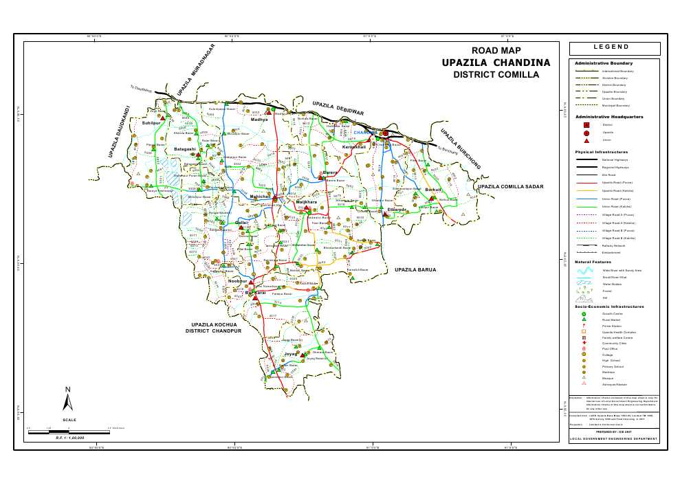 Chandina Upazila Road Map Comilla District Bangladesh