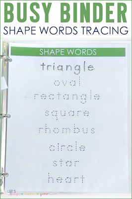 Shape Words Tracing Busy Binder