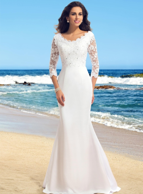 Tailor made Summer Lace Zipper-up All Sizes Garden/Outdoor Beach Spring Natural Wedding Dress – Price:GBP £ 86.65