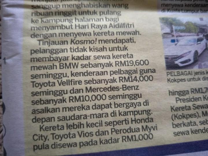 Bergaya Raya Sewa Kereta Mewah RM10K Seminggu