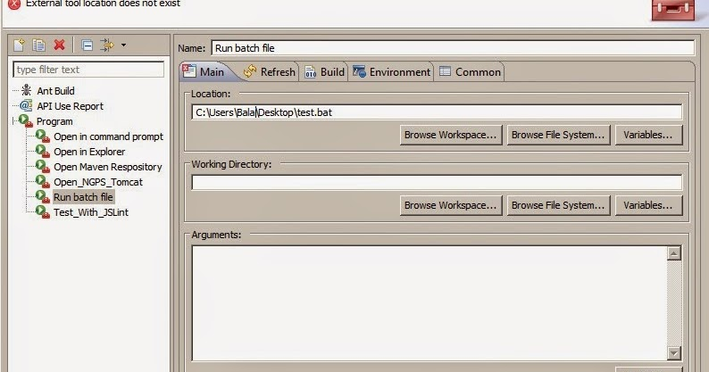 Java Developer Tools: Running batch files from eclipse