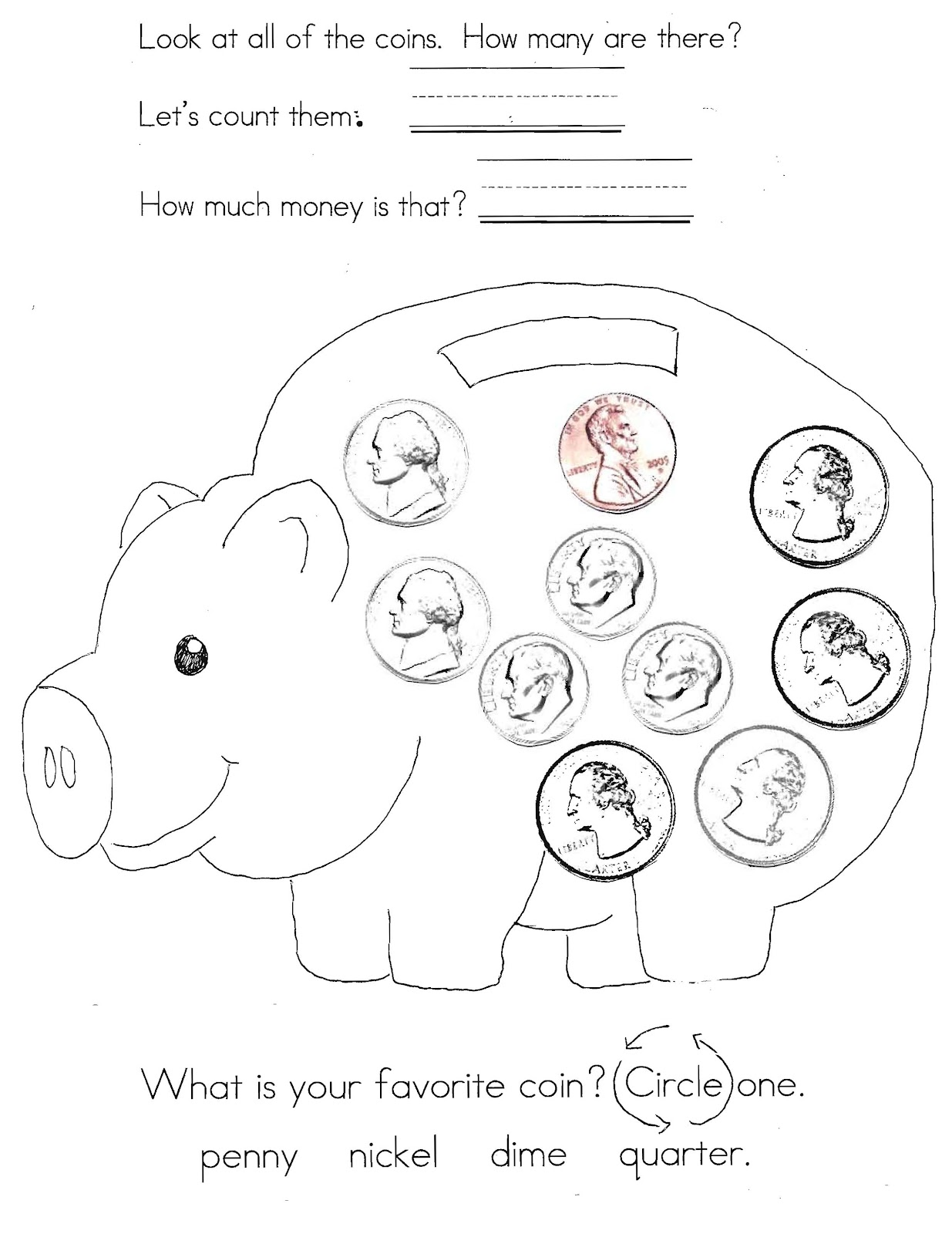 Nickel Penny Recognition Worksheet For Kindergarten