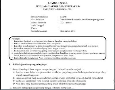 Soal + Kunci Jawaban PAS PKn Kelas 9 Kurikulum 2013 SMP/MTs