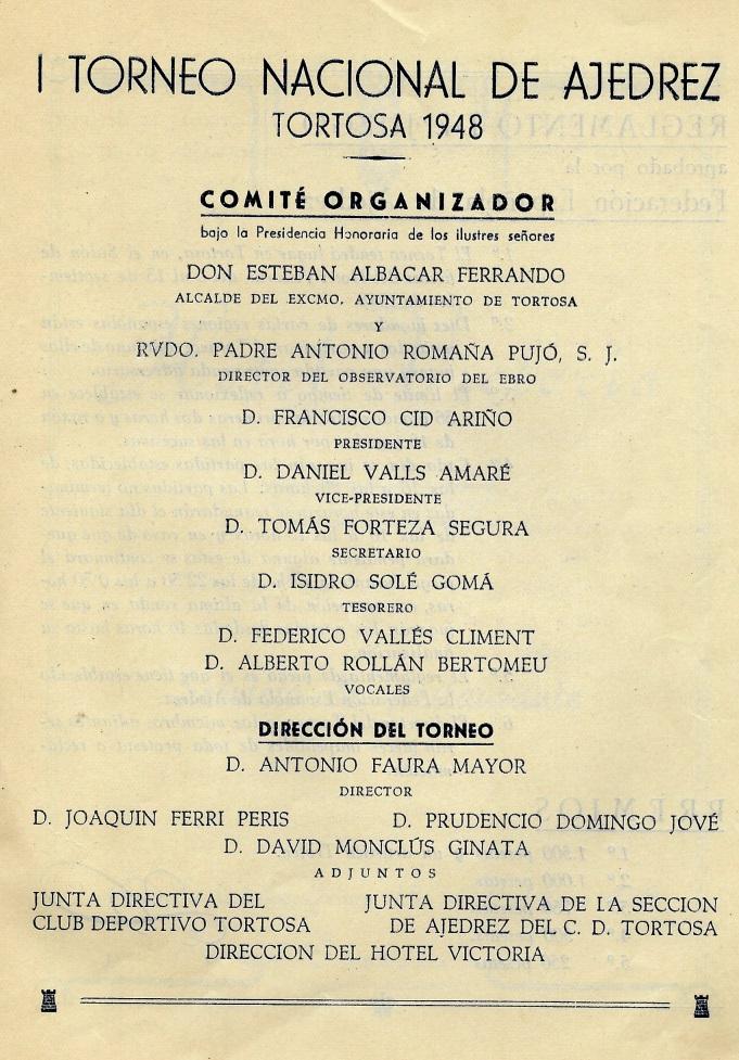 Página 4 del Boletín del I Torneo Nacional de Ajedrez de Tortosa 1948