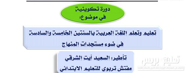 مستجدات منهاج اللغة العربية للمستويين الخامس والسادس ابتدائي
