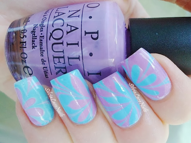 Blue and lilac water marble