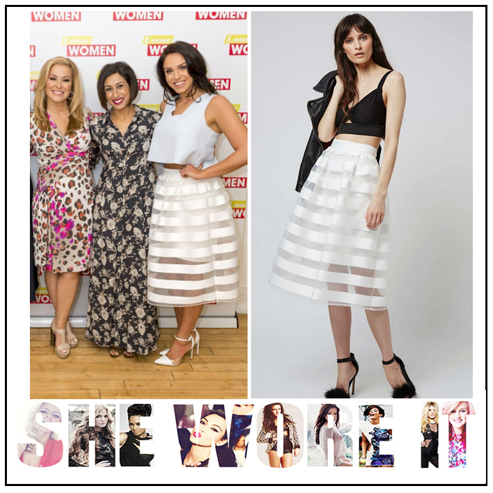 56674ad84c1075 Loose Women's Vicky Pattison in Topshop Bright White Organza Mesh High  Waisted Full Midi Skirt with Sheer Stripe Detail