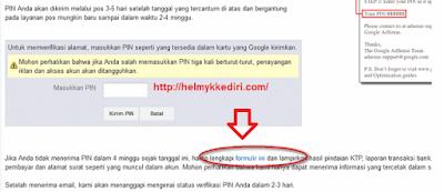 Verifikasi PIN google adsense dengan KTP4
