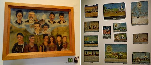 Obras do acervo do Museu Frida Kahlo, na Cidade do México