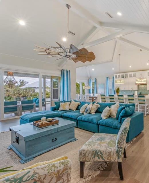 Florida Living Room Decor Idea in Blue