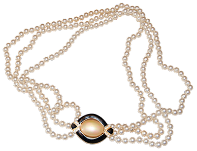 A long triple-strand necklace with faux pearls and a large enamel buckle.