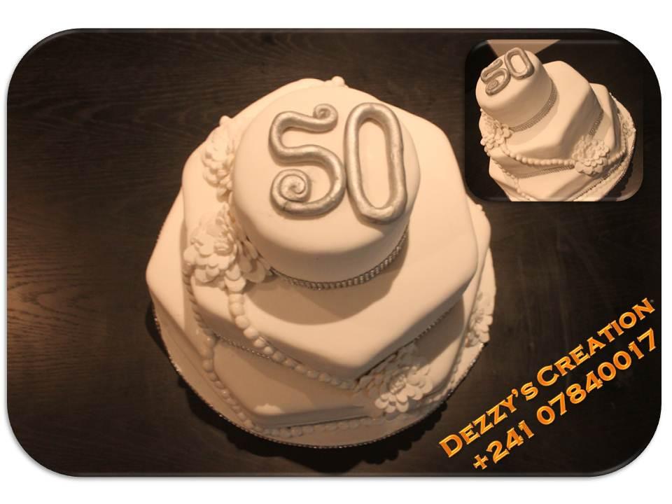 THREE TIERS 50TH BIRTHDAY CAKE