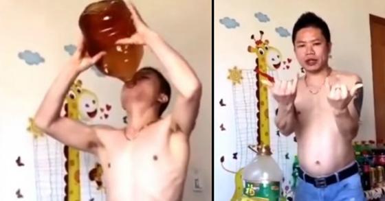 Video Seorang Pria Menenggak 5 Liter Minyak Goreng Dalam 40 Detik Ini Jadi Viral