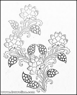 Flowers design drawing for hand emroidery and machine embroidery saree design/top 5 latest saree design patterns pencil sketch on tracing paper for hand works and machine embroidery work.