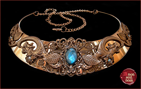collier dragon labradorite necklace jewelery middle age medieval renaissance