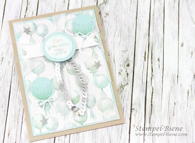 Luftballonkarte; Stampin Up Luftballon; Luftballon basteln; Geburtstagskarte Mädchen; Stampin up Sonnenstrahlen; Stampin Up Partyballons; Stempel-Biene