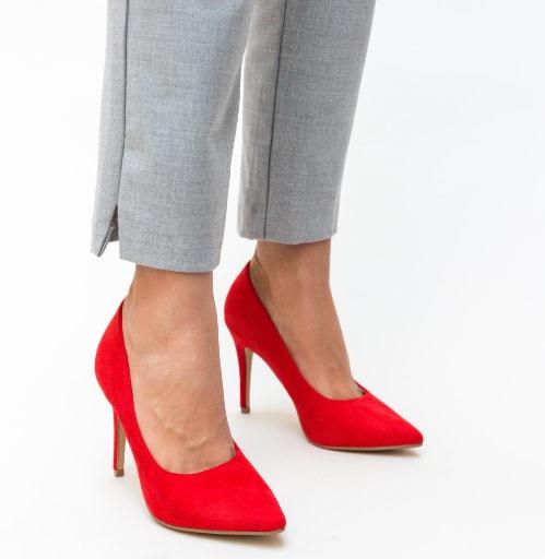 Pantofi rosii din piele eco intoaras cu toc subtire