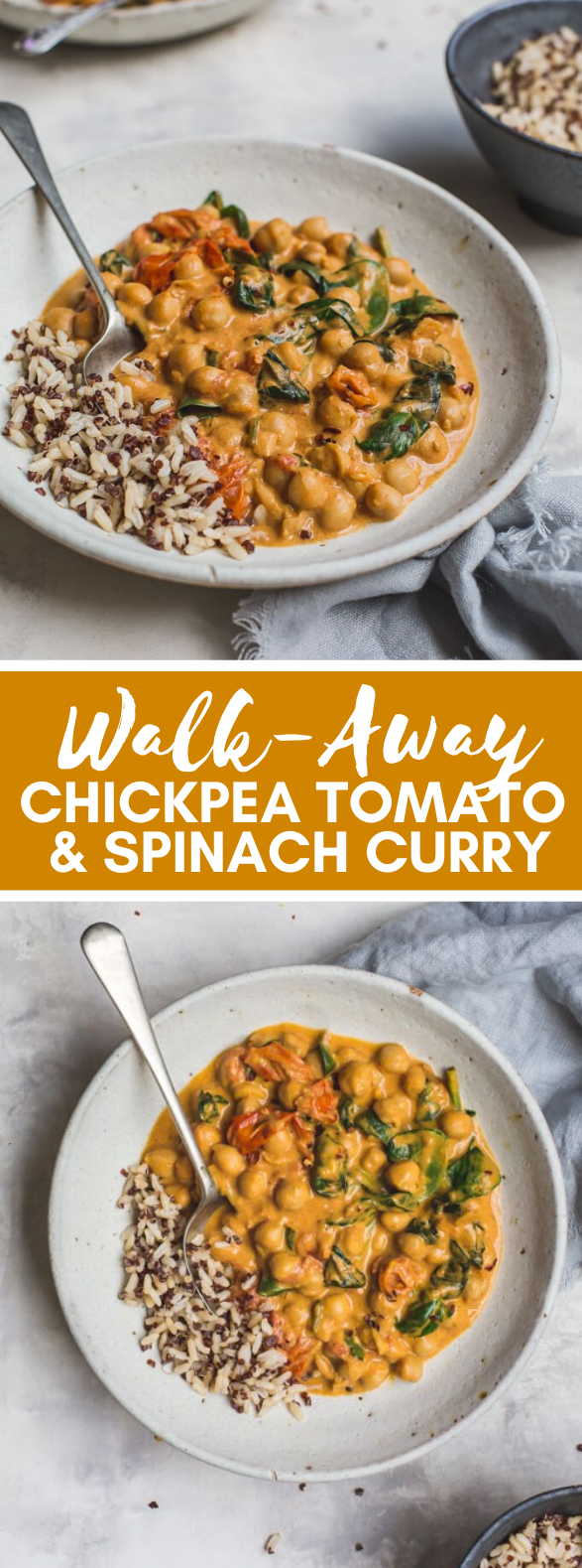Walk-Away Chickpea Tomato and Spinach Curry #vegan #glutenfree