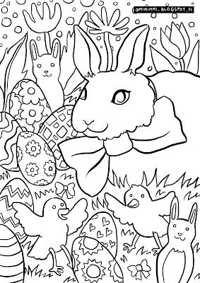 A coloring page of the easter bunny / Värityskuva pääsiäispupusta