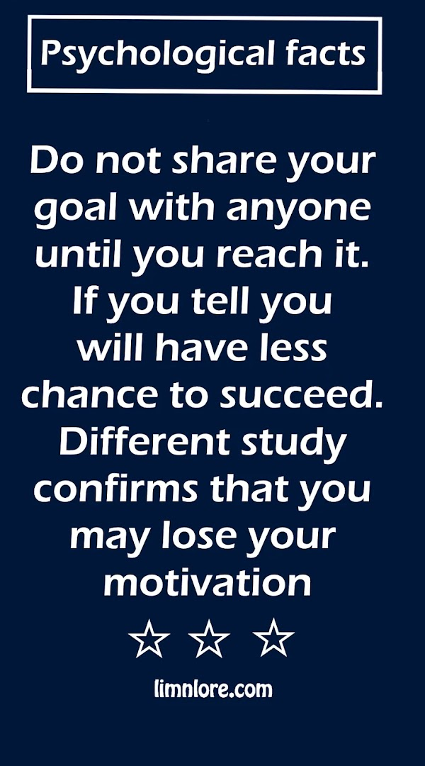 Do not share your goal until you reach it