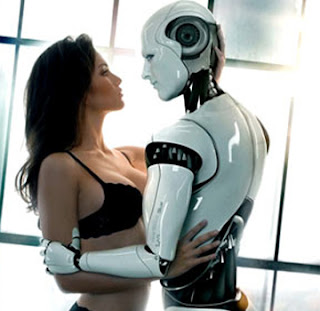 A woman & robot couple dancing