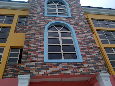 eco brick tiles on exterior wall